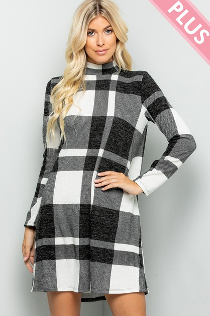 Buffalo Plaid Dress Mock Neck - orangeshine.com