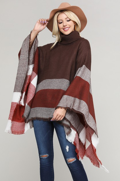 Plaid Turtleneck Poncho Shawl - orangeshine.com
