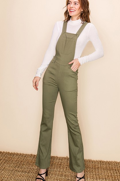 APRON JUMPSUIT WITH FLARE PANTS - orangeshine.com