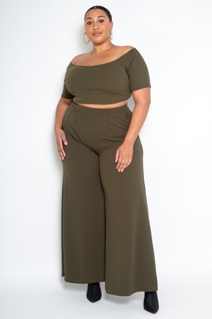 Plus Size Crop Top Wide Pants Set - orangeshine.com