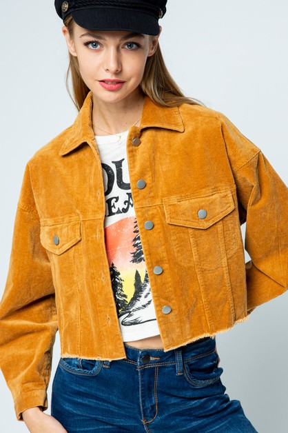 CROPPED CORDUROY  JACKET - orangeshine.com