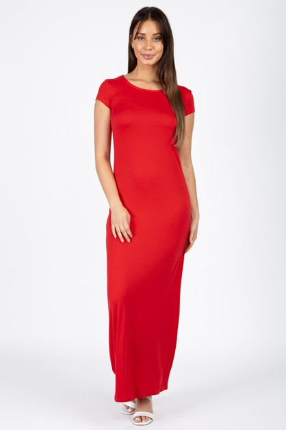 Cap Sleeve Long Dress - orangeshine.com