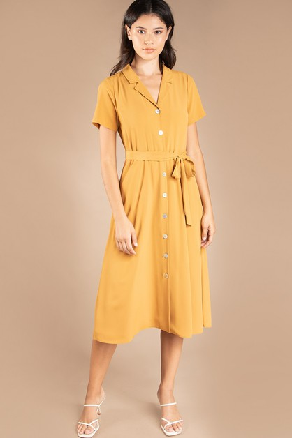 BUTTON FRONT MIDI DRESS - orangeshine.com