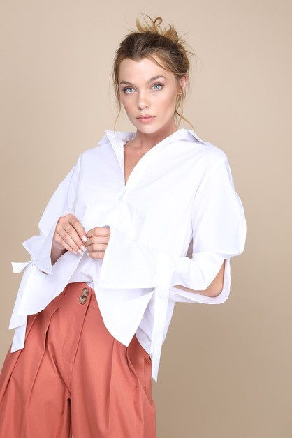 Slit sleeves ribbon tie shirt - orangeshine.com
