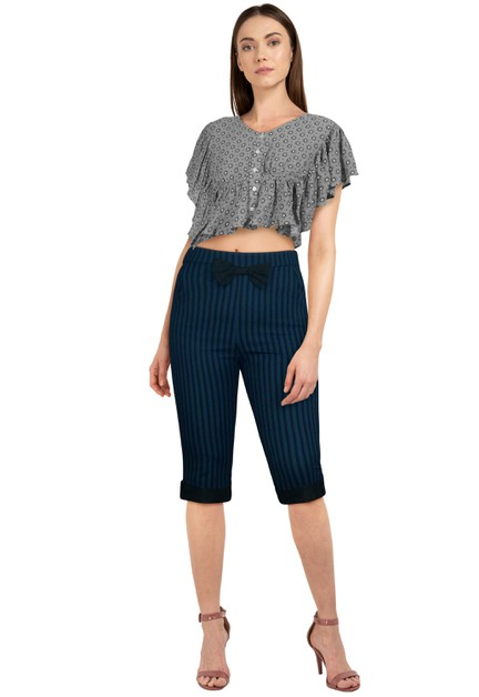 Blue/Black Bow Retro Pants - orangeshine.com