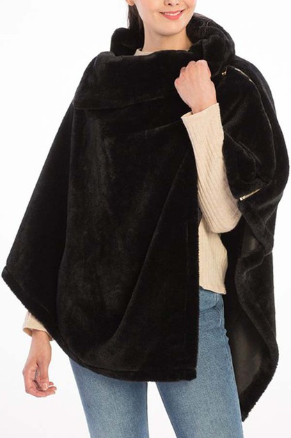 SOLID FUR WITH ZIPPER COLLAR PONCHO - orangeshine.com
