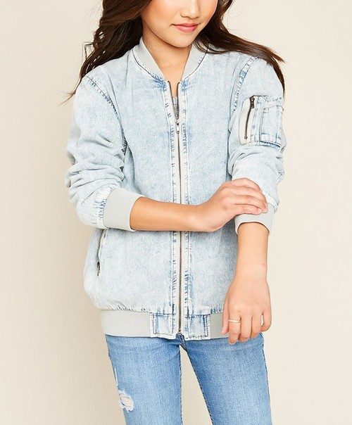 Rose Patch Denim Bomber Jacket - orangeshine.com
