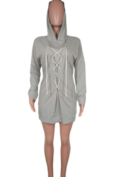 tie rope hood dress - orangeshine.com