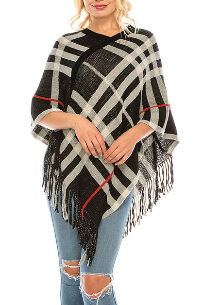 PLAID PATTERN FRINGE PONCHO - orangeshine.com