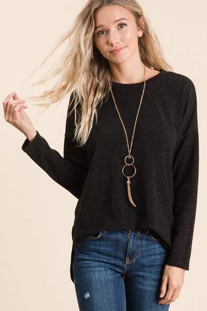 GLITTERING LONG SLEEVE TOP - orangeshine.com