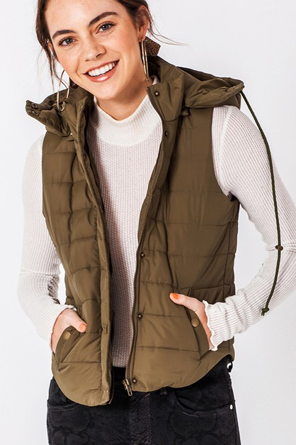 BUBBLE BUTTON UP VEST WITH HOOD - orangeshine.com
