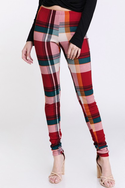Fall Winter Plaid Print Leggings - orangeshine.com