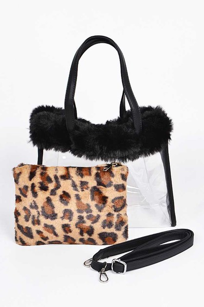 Leopard Printed 2 In 1 PVC Faux Fur  - orangeshine.com