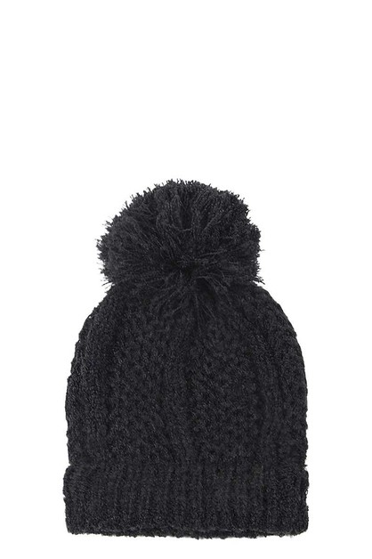 KNIT BEANIE WITH POMPOM - orangeshine.com