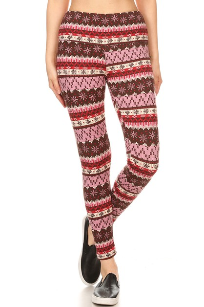 Christmas Print Fleece Leggings  - orangeshine.com