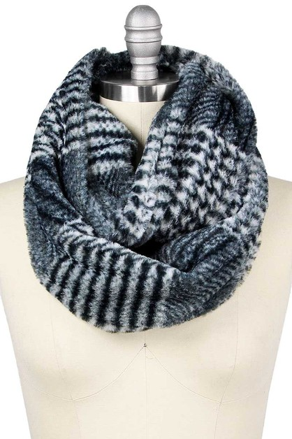 GLEN CHECK FAUX FUR INFINITY SCARF - orangeshine.com