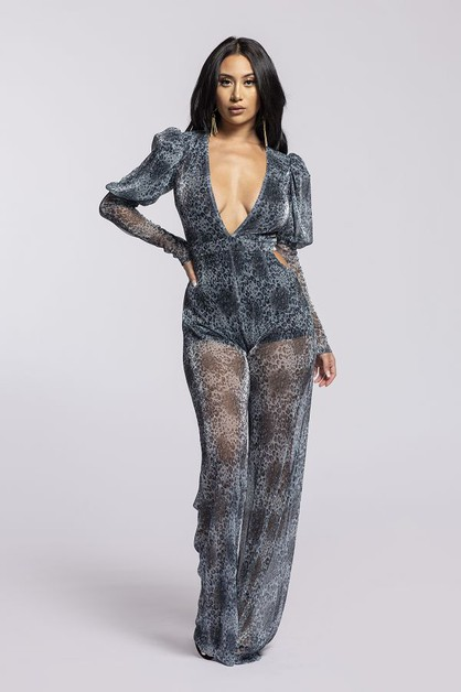 Long slv Deep V animal jumpsuit - orangeshine.com