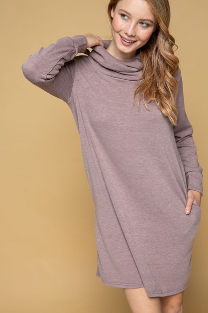 TURTLE NECK DRESS WITH SIDE POCKET - orangeshine.com