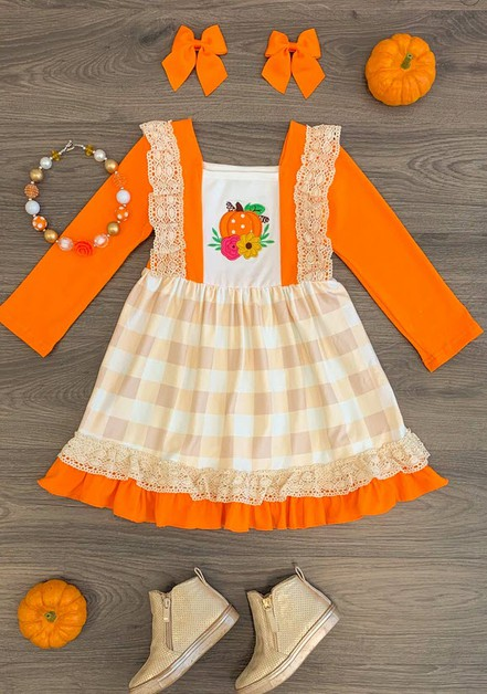Pumkin applique ruffle crochet dress - orangeshine.com