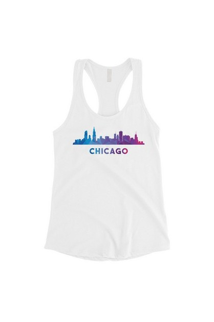 Polygon Skyline-Chicago Tank Top - orangeshine.com