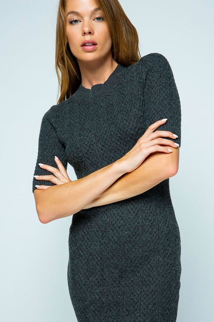 TEXTURED KNIT FITTED SWEATER DRESS - orangeshine.com