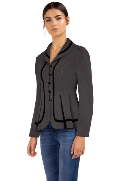 Plus Size Gray Velvet Trims Jacket - orangeshine.com