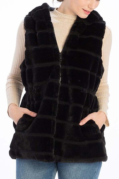 HOODED FAUX FUR CINCHED VEST - orangeshine.com