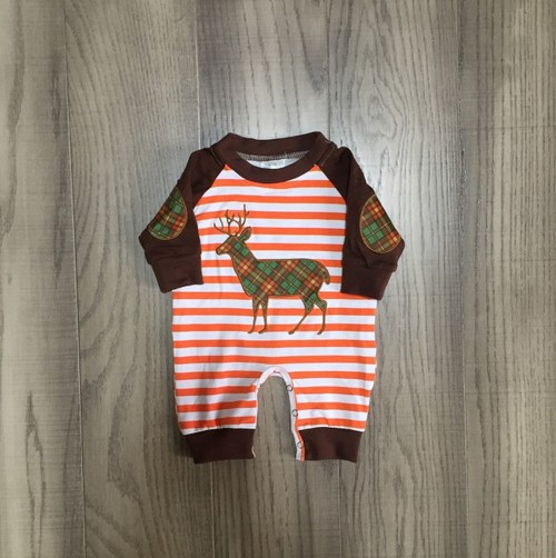 Boys Plaid deer Romper - orangeshine.com