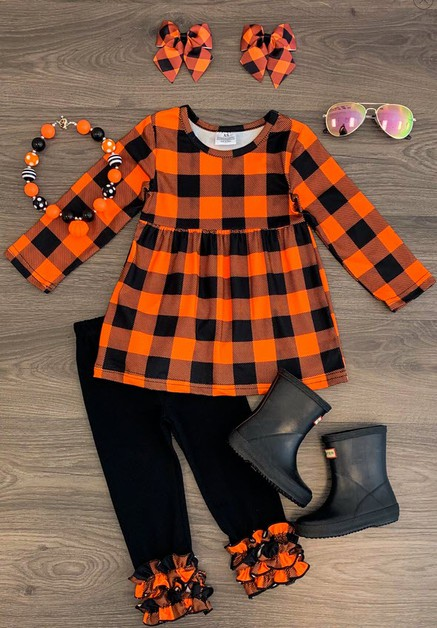 Black & Orange Plaid Tunic Set - orangeshine.com