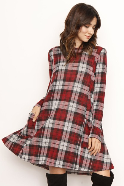 PLUS Plaid A-Line Dress With Pockets - orangeshine.com