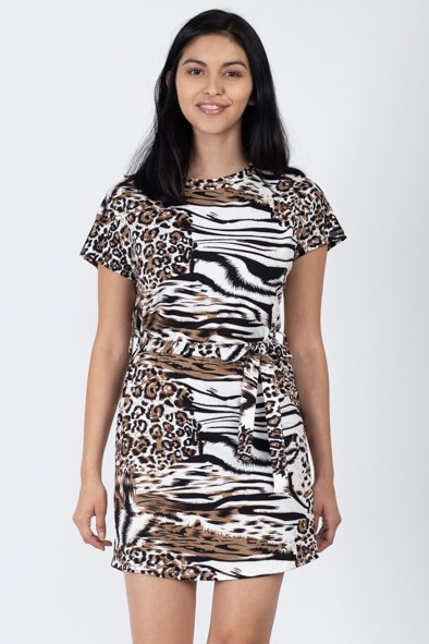 Waist Belted Print Mini Dress   - orangeshine.com