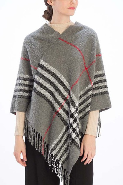 CHECKER PLAID PRINT PONCHO - orangeshine.com