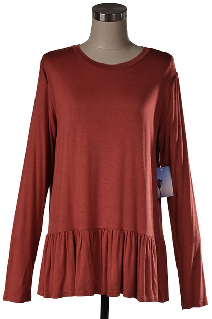A long sleeve top with bottom shirri - orangeshine.com