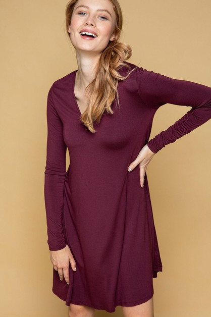 SUPER SOFT GRACE LONG SLEEVE DRESS - orangeshine.com