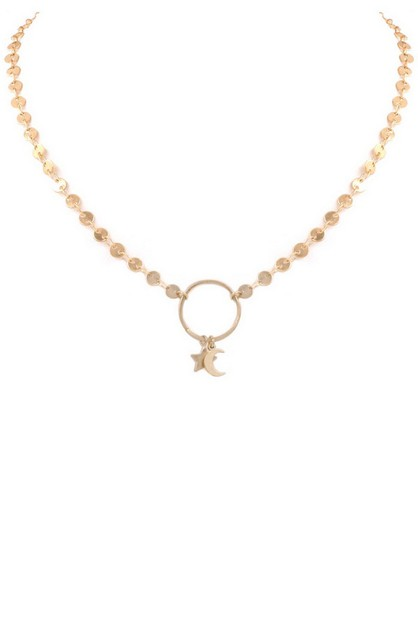 Chain Star Moon Ring Necklace - orangeshine.com