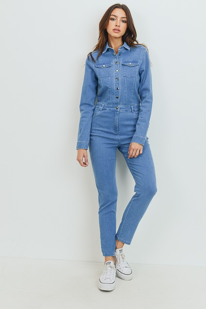 Collar Denim Jumpsuit with Pocket - orangeshine.com