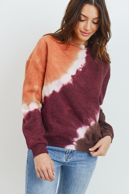 TIE DYE OVER SIZED FLEECE TOP - orangeshine.com