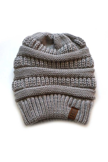Grey Knit Beanie kids hat - orangeshine.com