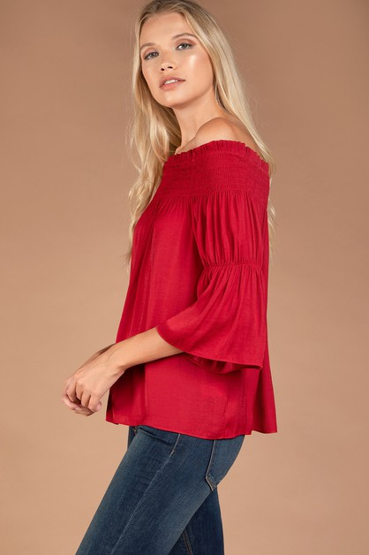 OFF SHOULDER SMOCKED TOP - orangeshine.com