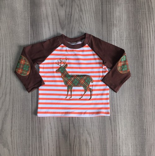 Boys Plaid Deer Raglan  - orangeshine.com