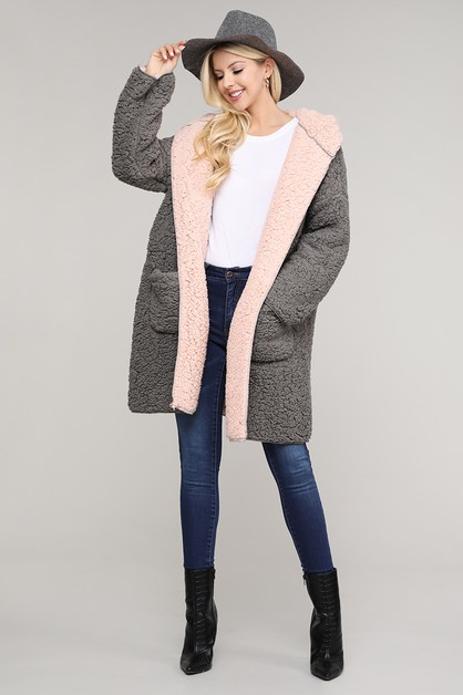 TWO TONE HOODED FAUX FUR COAT - orangeshine.com