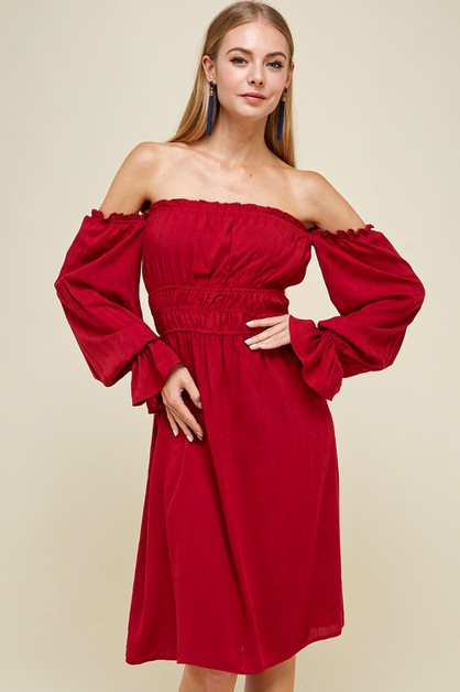 Off shoulder smocking dress - orangeshine.com
