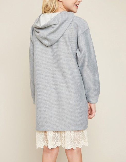 Hooded Sweatshirt Dress With Lace - orangeshine.com