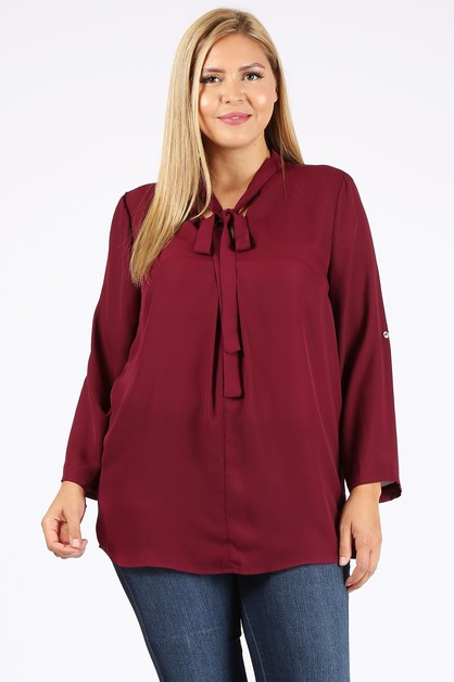 Plus Size Tie V-Neck Top - orangeshine.com