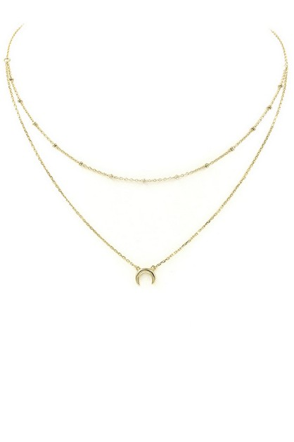 Brass Crescent Charm Necklace - orangeshine.com
