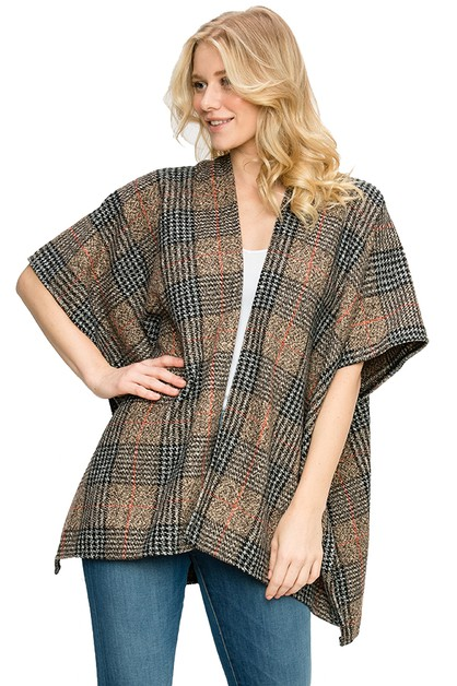 Plaid Pattern Poncho - orangeshine.com