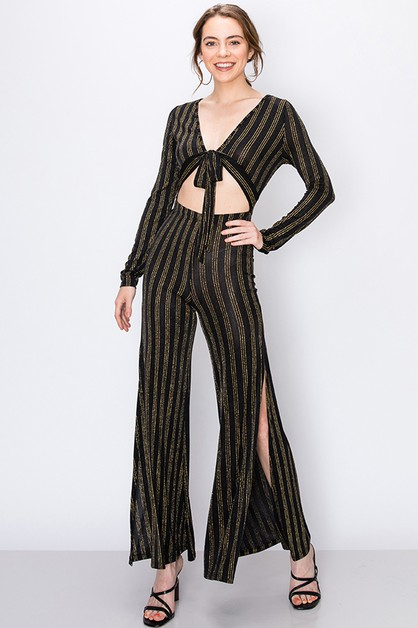 PINSTRIPE JUMPSUIT WITH SIDE SLITS - orangeshine.com