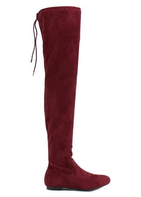 BACK LACE SUEDE OVER THE KNEE BOOT - orangeshine.com