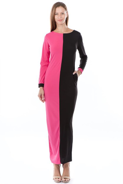 COLOR BLOCK MAXI DRESS - orangeshine.com