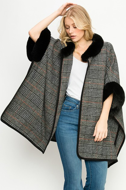 FAUX FUR TRIMMED PLAID PONCHO - orangeshine.com